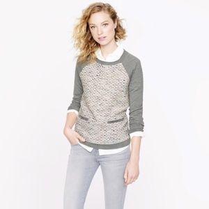J.Crew Tweed Front Merino Wool Sweater